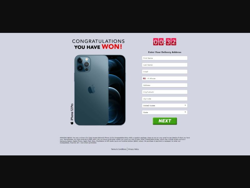iPhone 12 Pro - Sweepstakes & Surveys - Trial - [US]