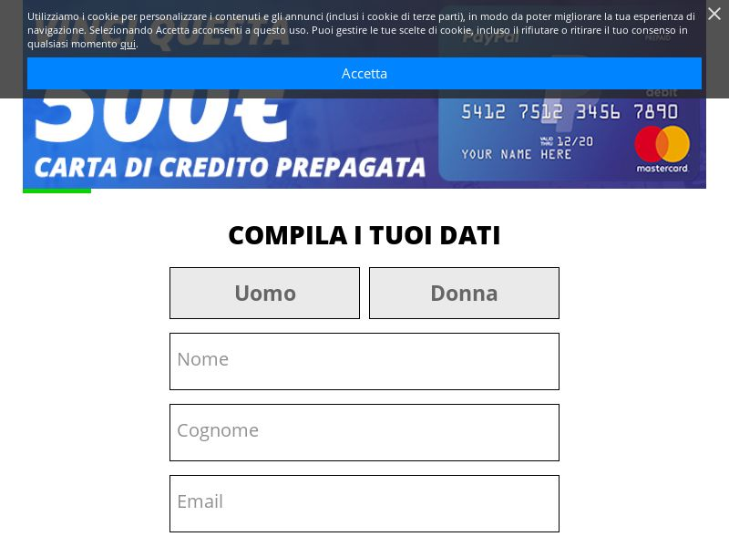 Sweepstake - PayPal 500€ Credit Card - [IT] - 25+