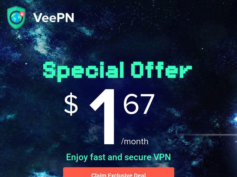 VeePN - Special Pricing $1.67 - CPA - Desktop & Mobile [INTERNATIONAL]