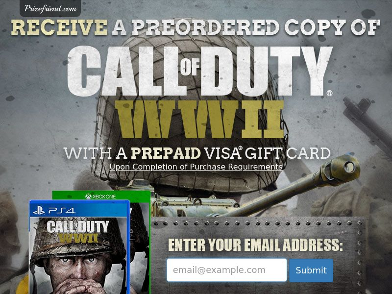 Call Of Duty WWII - Email Submit - Incent