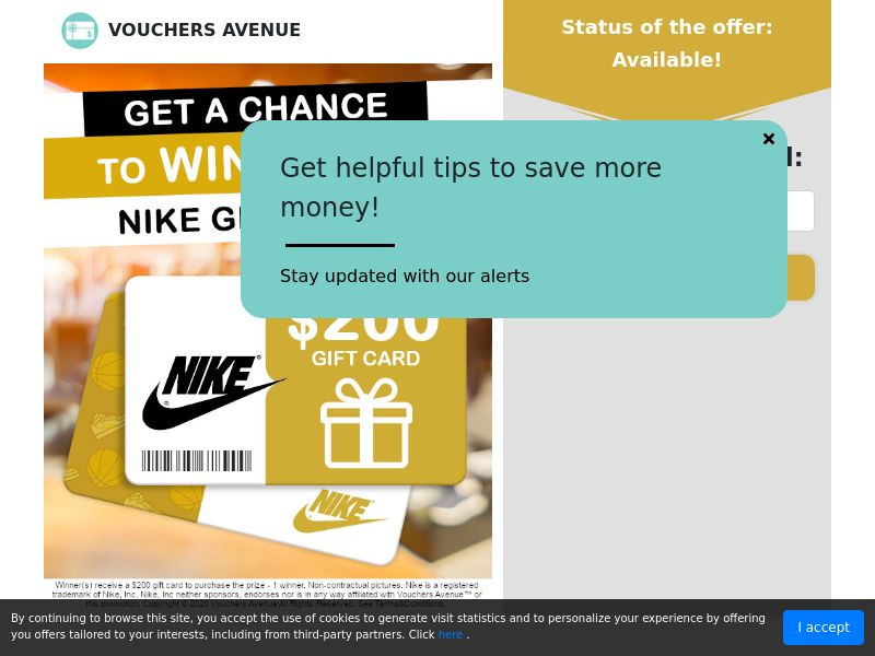 Vouchers Avenue - Get a Chance To Win $200 Nike Gift Card - Gift Cards/Sweepstakes - US * PENDING * Private Offer *