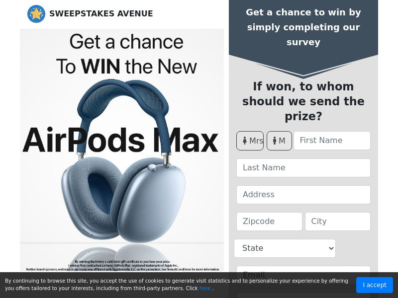 Sweepstake Avenue - AirPods Max   US