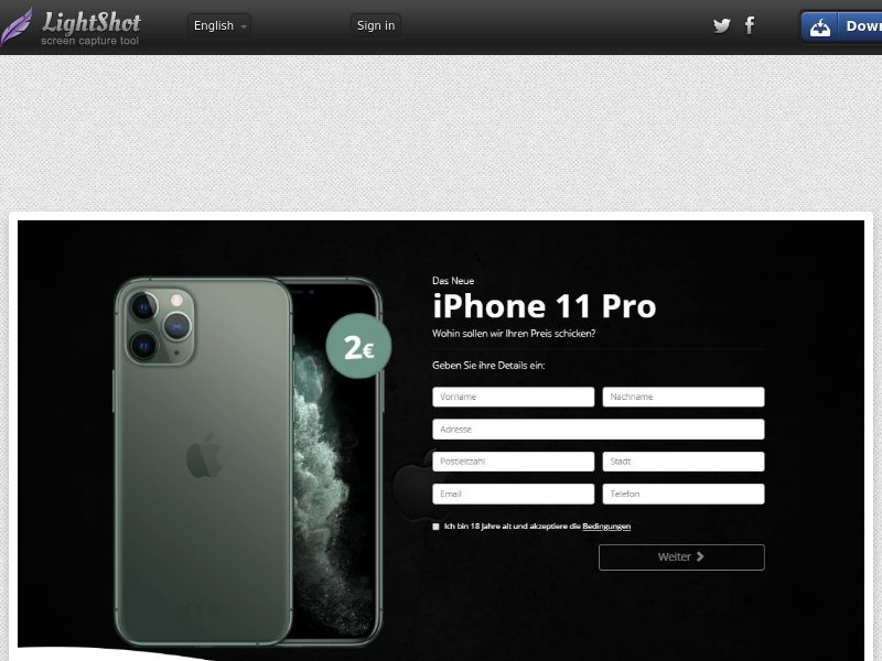 PremiumDeals iPhone 11 Pro v2 (Sweepstake) (CC Trial) - Germany [DE]