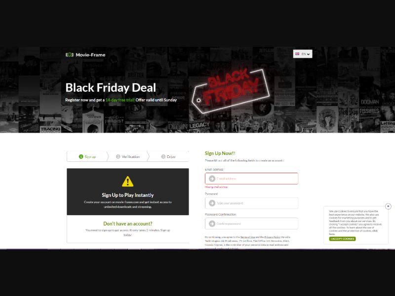Streaming service Black Friday [FR,GB,DE,DK] - CC Submit