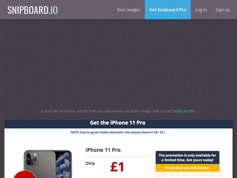 MagnificentPrize - iPhone 11 Pro Amazon UK - CC Submit