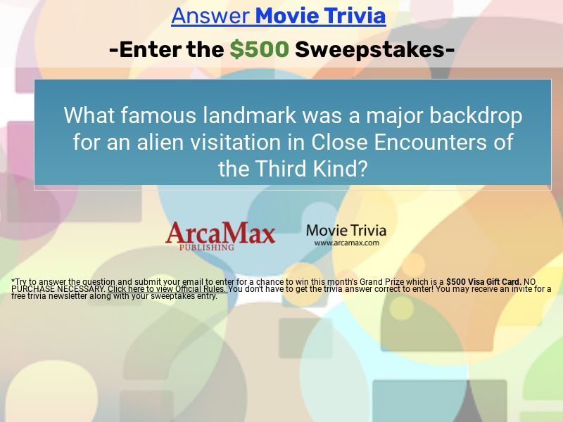 Free Movie Trivia $500 Monthly Sweepstakes