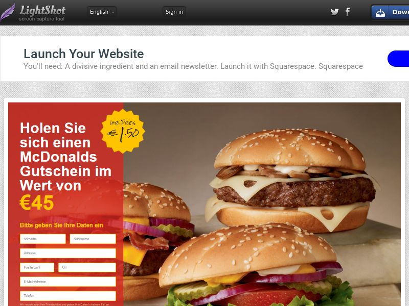 winlotsofthings McDonald's Giftcard (Sweepstake) (CC Trial) - Germany [DE]