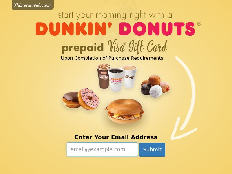 Dunkin Donuts Gift Card - Email Submit