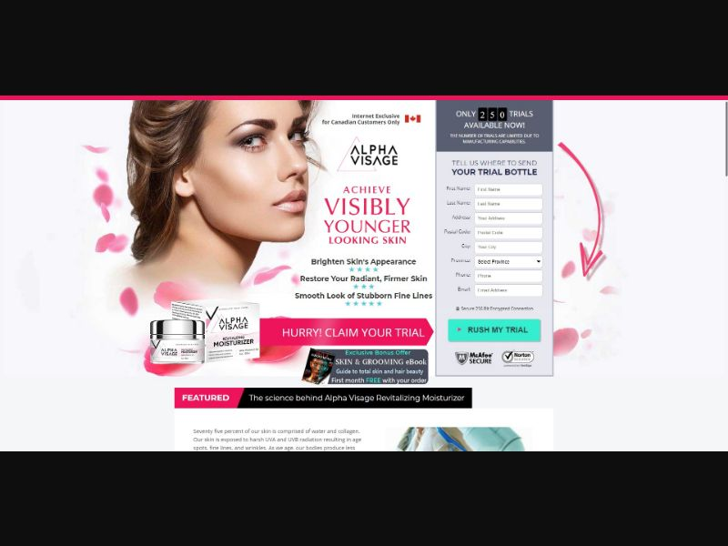 Alpha Visage Revitalizing Moisturizer - Skin Care - Trial - NO SEO - [CA] - with 1-Click Upsell [Step1 $36.55 / Upsell $36.55]
