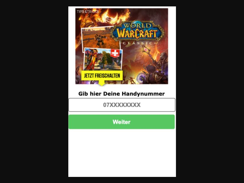 World of Warcraft - SMS Flow - CH - Online Games - Mobile