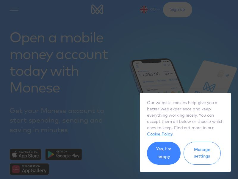 Monese - Free Mobile Banking (iOS/Android) (UK) (Mobile Only)