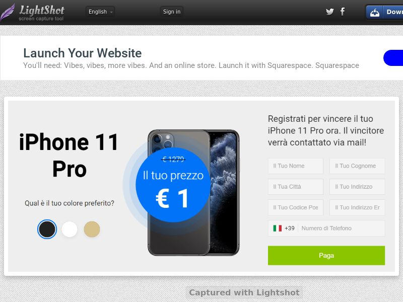 Youcanwintoday iPhone 11 Pro (Sweepstakes) (CC Trial) - Italy