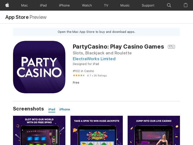 PartyCasino - Play Casino Games & Real Money Slots IOS CA Creative id Appname