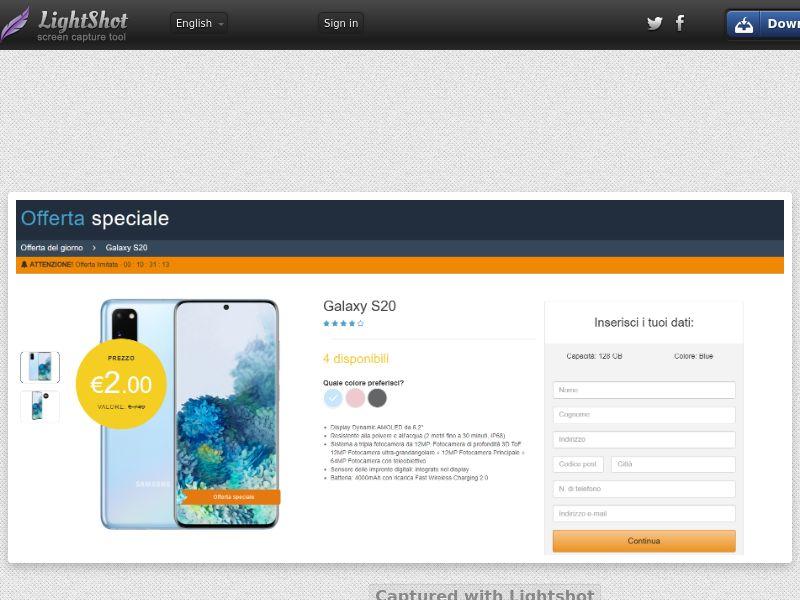 winlotsofthings Amazon Samsung S20 (CC Trial) - Italy