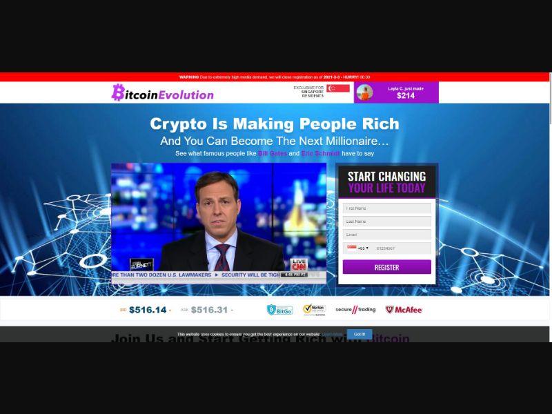 Bitcoin Evolution - $250 min CTC - VSL - Crypto - SS - [50 GEOs]
