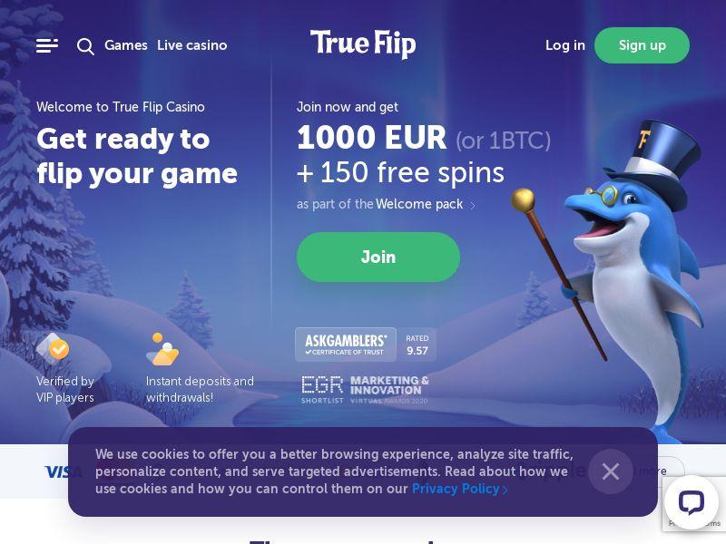 True Flip (AU,CA,DK,DE,GR,IE,NZ,NO), [CPA], Gambling, Casino, Deposit Payment, million, lotto
