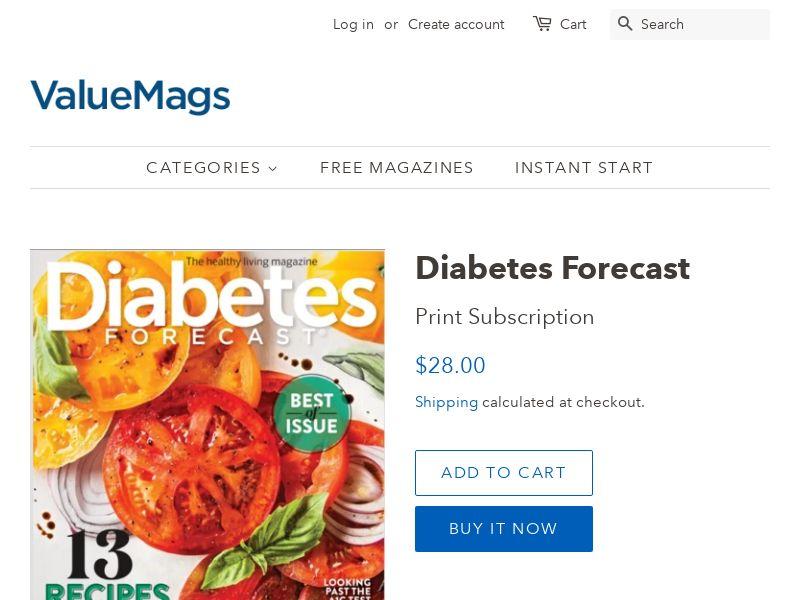 Diabetes Forecast - #1 Diabetes Magazine! (74% Off)   US