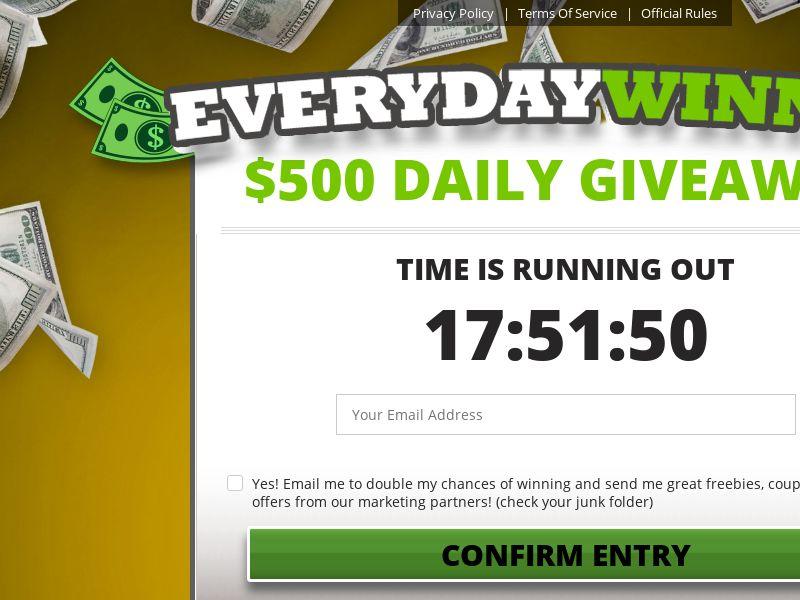 MDM Everyday Winner $500 Sweepstakes