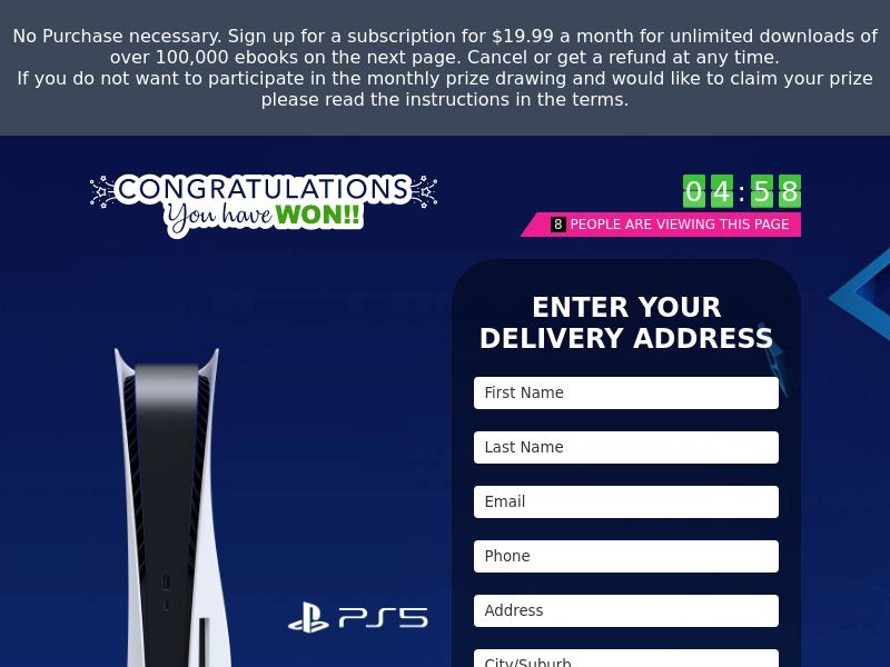 (14824) [WEB+WAP] Win A Ps5 - US - CC submit