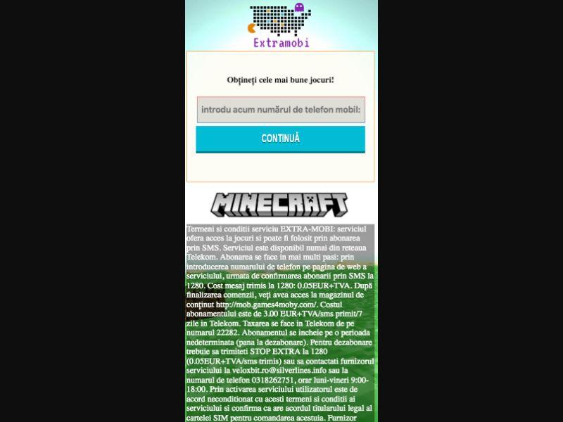 Minecraft - SMS flow - RO - Orange - Telekom - Online Games - Mobile