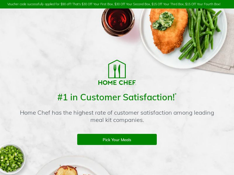 Home Chef $90 off Veteran's Day