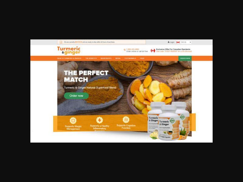 Tumeric & Ginger - Dietary Supplement (US,CA,AU,NZ)