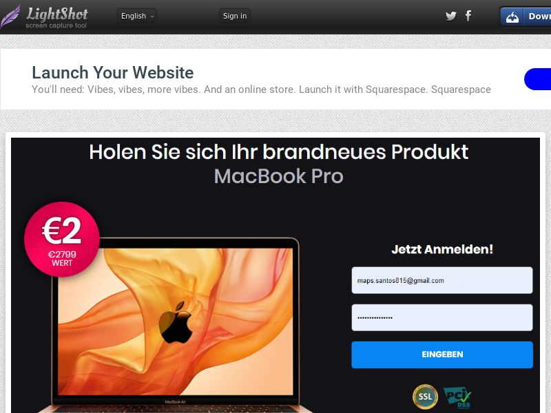 IQPlayWin Win MacBook Pro (Sweepstakes) (CC Trial) - Germany