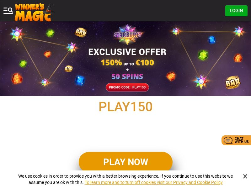 Winners Magic Casino - Exclusive offer PLAY150 - CPA | CA, FI, NL, AT