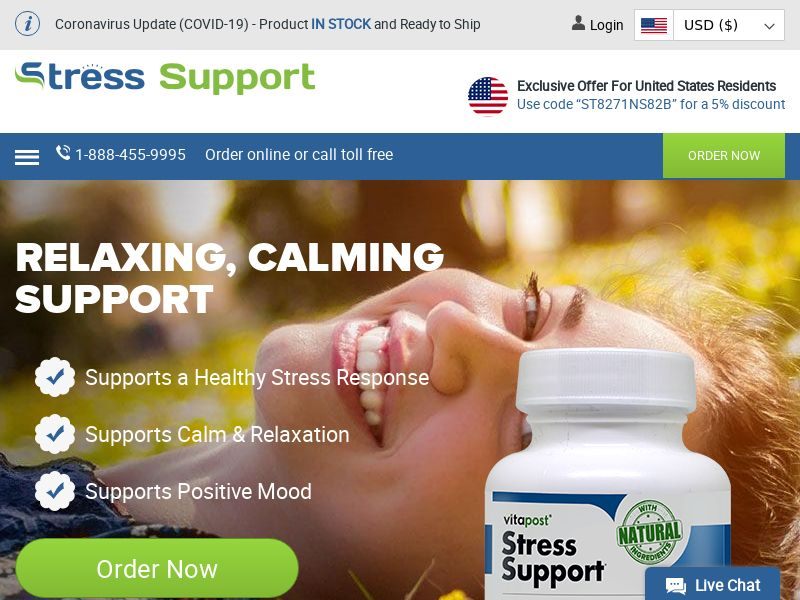 Stress Support | Natural Stress Relief Supplement for Calming