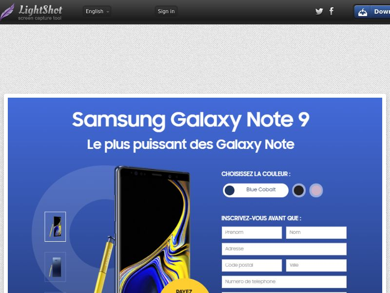 Samsung Galaxy Note 9 3€ (Sweepstake) (CC Trial) - France