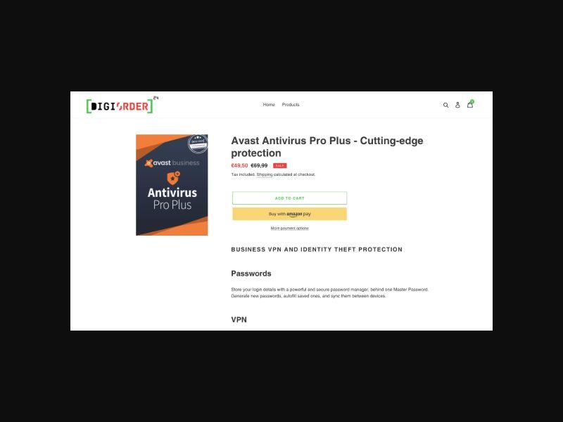 Avast Antivirus Pro Plus 1 Year (Product Page) - Worldwide