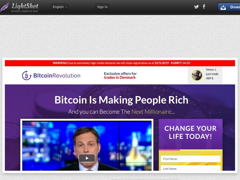 Bitcoin Revolution CPA DK, SE, NO, FI, DE, IT, UK, AU, NZ, NL