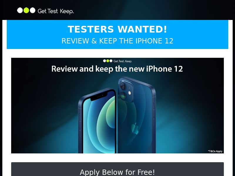 OfferX - Test & Keep New iPhone 12 (incent) [UK]