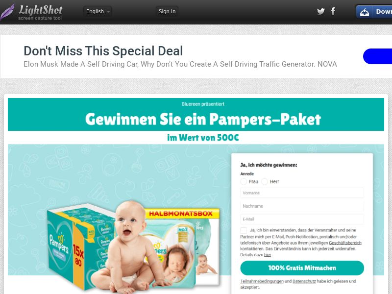 7Sections - Pampers €500 Giftcard (DE, AT, CH) (CPL) (Personal Approval)