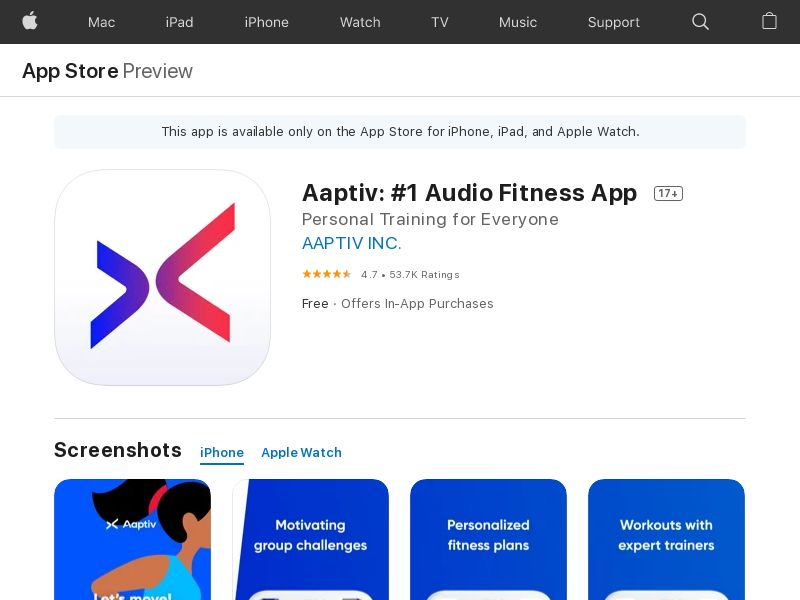 Aaptiv: #1 Audio Fitness App - iOS - Tier1 (Direct Link) CPA