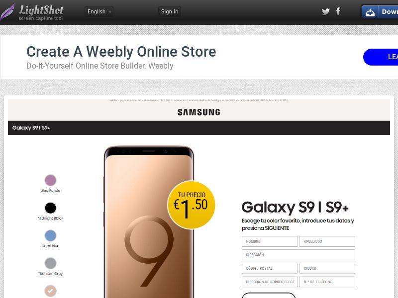 winlotsofthings New Galaxy S9 (Sweepstake) (CC Trial) - Spain [ES]