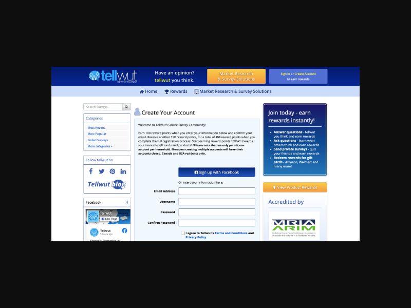 Tellwut Online Surveys (US,CA) DOI