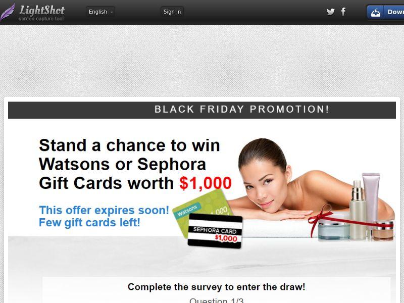 Shiok Rewards – Watson & Sephora $1000 Black Friday Voucher (Sweepstake) (SOI) - Singapore