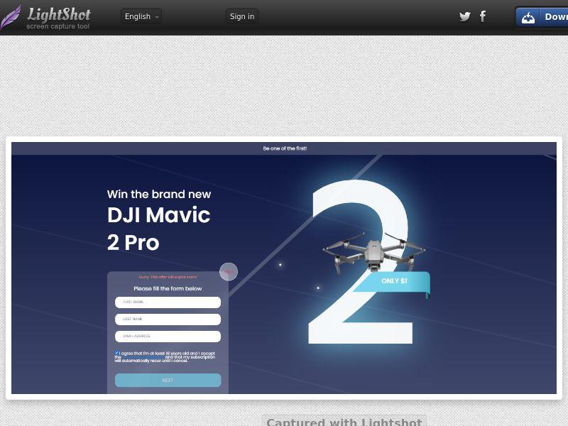 Socialmediago - Win DJI Movic 2 PRO Dron (US) (Trial) (Personal Approval)
