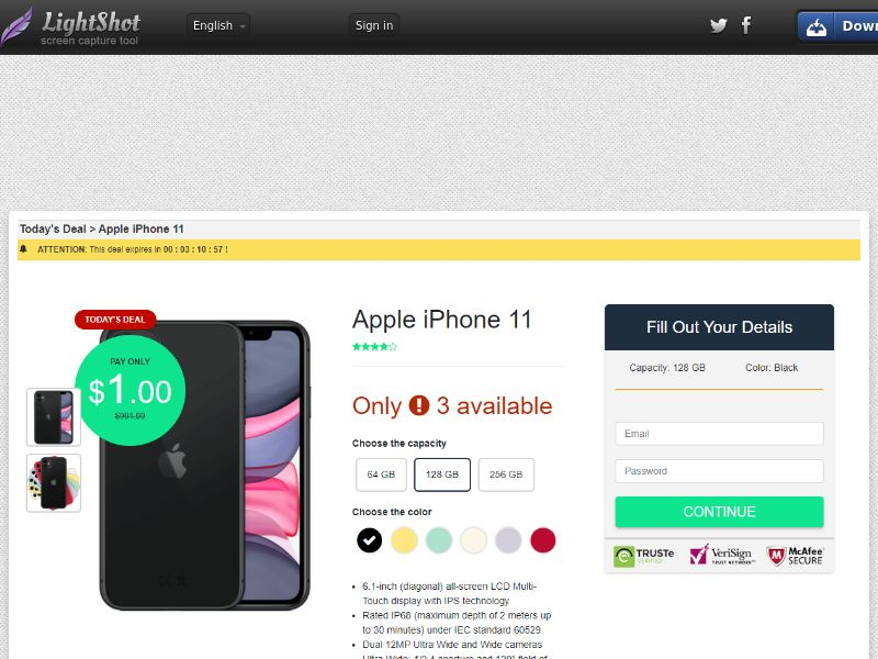 Today's deal: Apple iPhone 11 Amazon (Sweepstakes) (CC Trial) - Australia [AU]