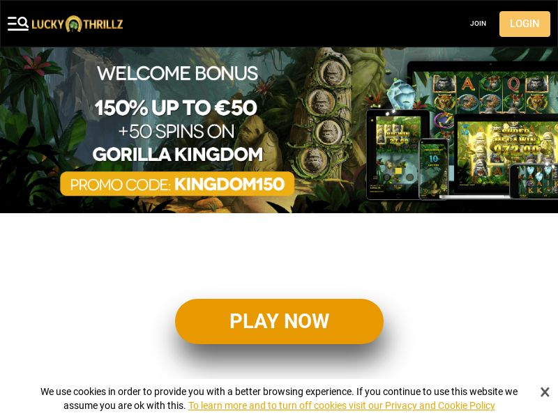 Lucky Thrillz Casino - Exclusive offer KINGDOM150 - CPA | CA, FI, NL