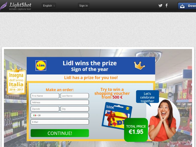 Plat Premium Lidl (Sweepstake) (CC Trial) - Italy