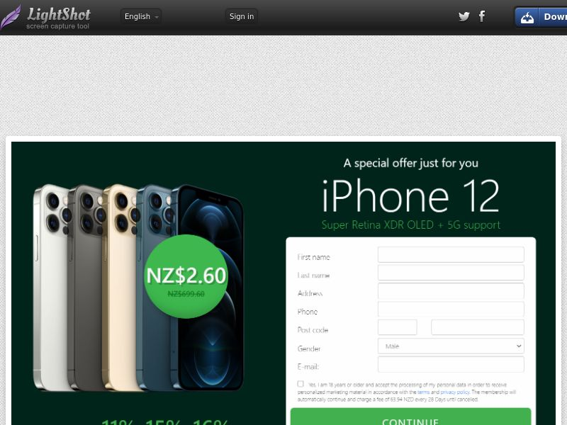 Golddigger iPhone 12 (Green) (CC Trial) - New Zealand