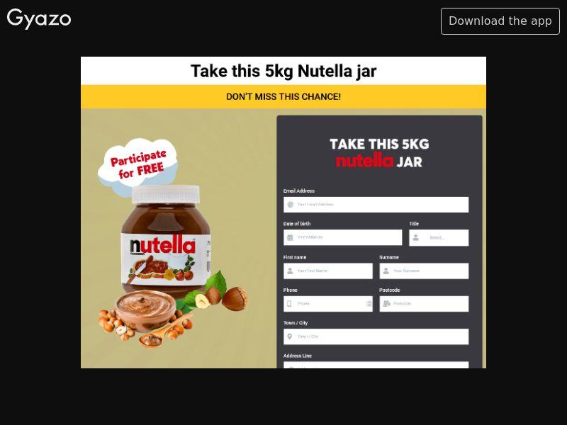 Myfunbreak - Win 5KG of Nutella (AU) (CPL) (Personal Approval)