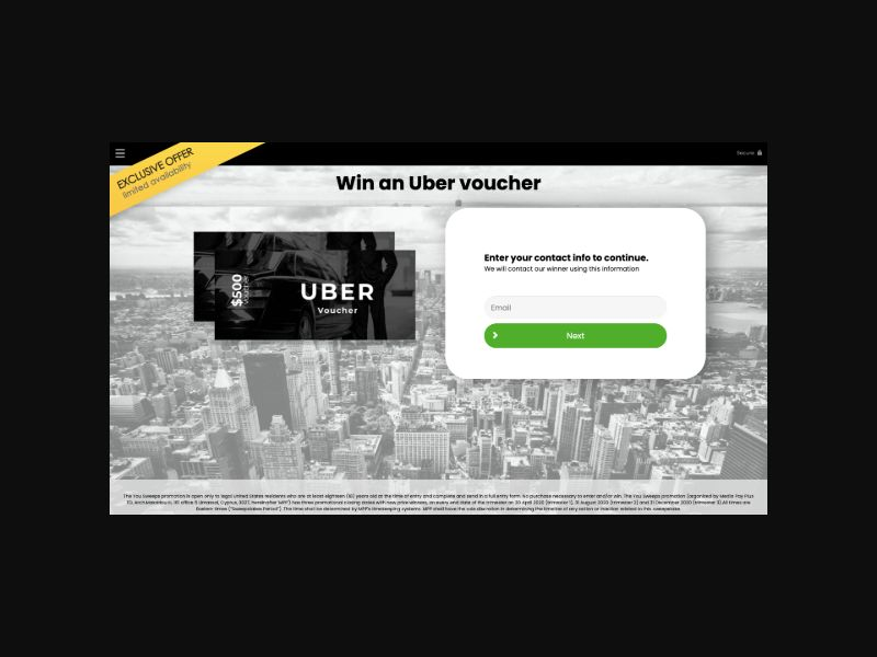 YOUSWEEPS Win an Uber Voucher (UK) SOI