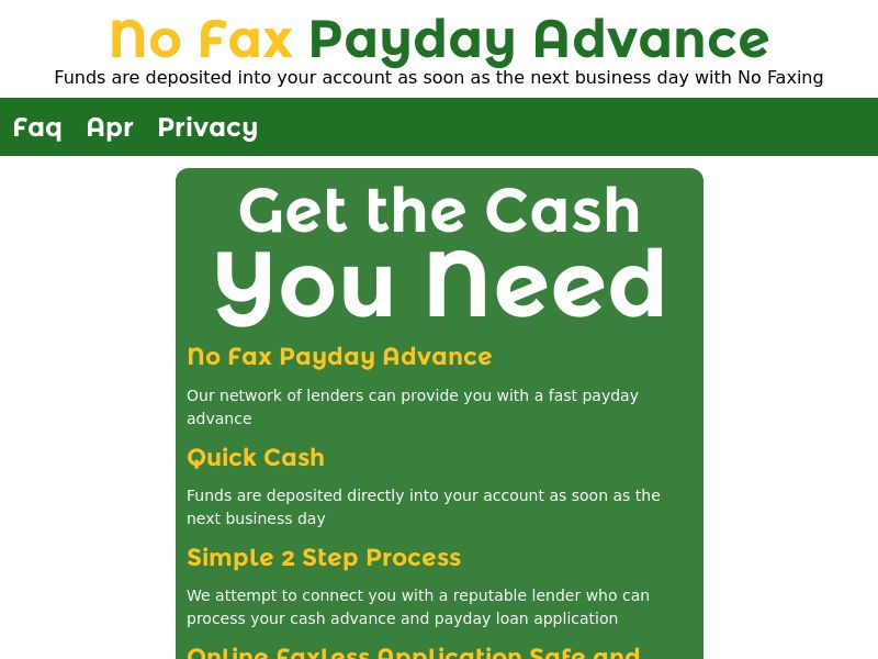 No Fax Payday Advance