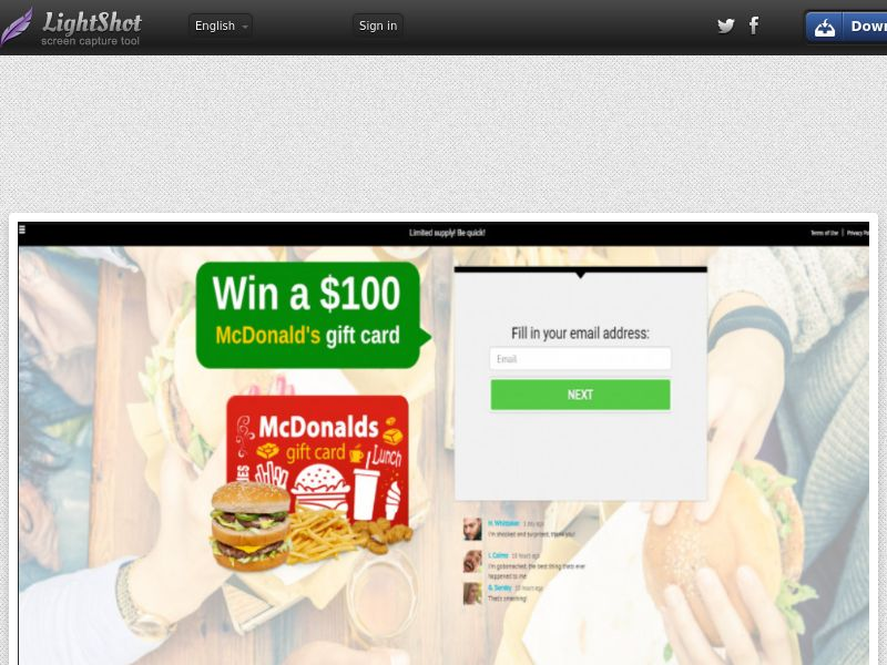 YouSweeps - Win A $100 Mcdonalds Gift Card (US) (CPL) (Personal Approval)