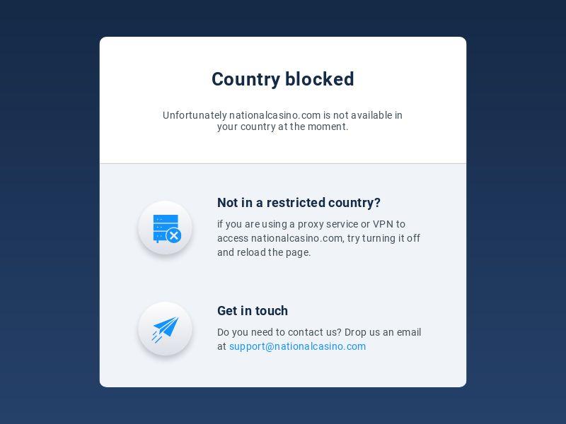 National Casino - Main page - iOS app - 6 Countries