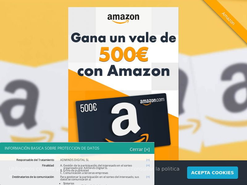 Amazon Gift Card - ES (ES), [CPL], Lotteries and Contests, House and Garden, Household items, Appliances and Electronics, Hardware, Single Opt-In, Email Submit, paypal, survey, gift, gift card, free, amazon, shop, gift