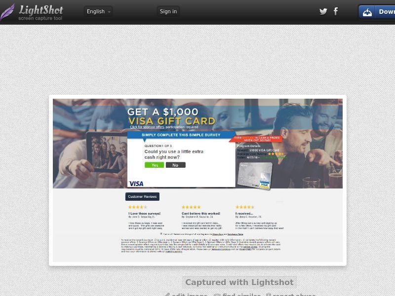 Retail Rewards Club - $1000 Visa Giftcard (US) (CPL) (Personal Approval)